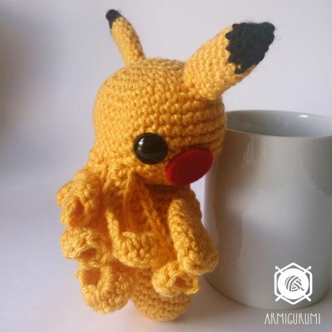 Cthulachu, Cthulhu and Pikachu mash-up - amigurumi free crochet pattern by Armigurumi