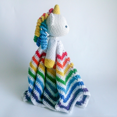 Unicorn Lovey - amigurumi crochet security blanket pattern by Tillysome