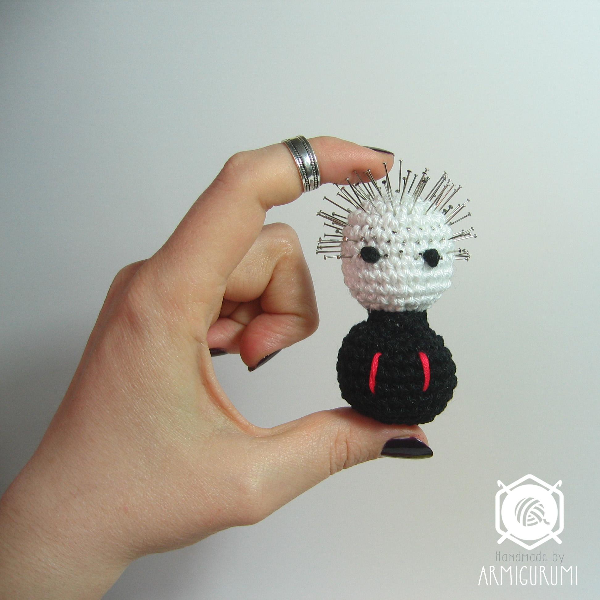 Pinhead pincushion from Hellraiser horror movie - amigurumi crochet pattern by Armigurumi