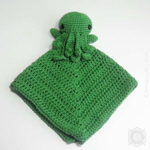 Cthulhu Lovey amigurumi crochet security blanket with safety eyes - inspired by  Rural Rebellion's Cthulhu design