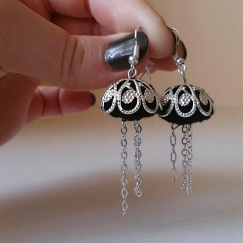 Silver and Black Jellyfish Micro Crochet Earrings by Armigurumi